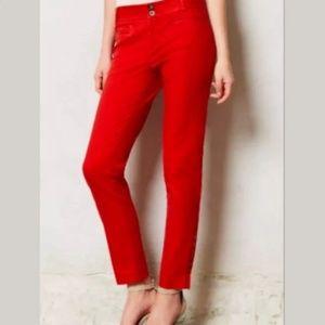 Essential Anthropologie Slim Red Pants 4